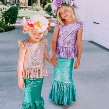 Load image into Gallery viewer, Aqua Sequin Mermaid Skirt