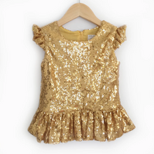 Load image into Gallery viewer, Rose Gold Sequin Peplum Top