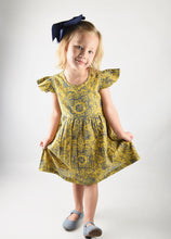 Load image into Gallery viewer, Printed Yellow Flutter Sleeve Dress
