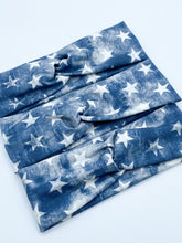 Load image into Gallery viewer, PREORDER Distressed Navy Stars Headband