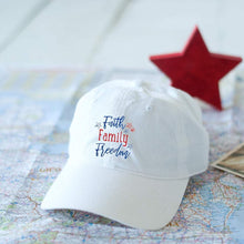 Load image into Gallery viewer, Faith Family Freedom White Cap