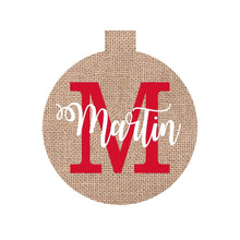 Load image into Gallery viewer, Burlap Name Ornament