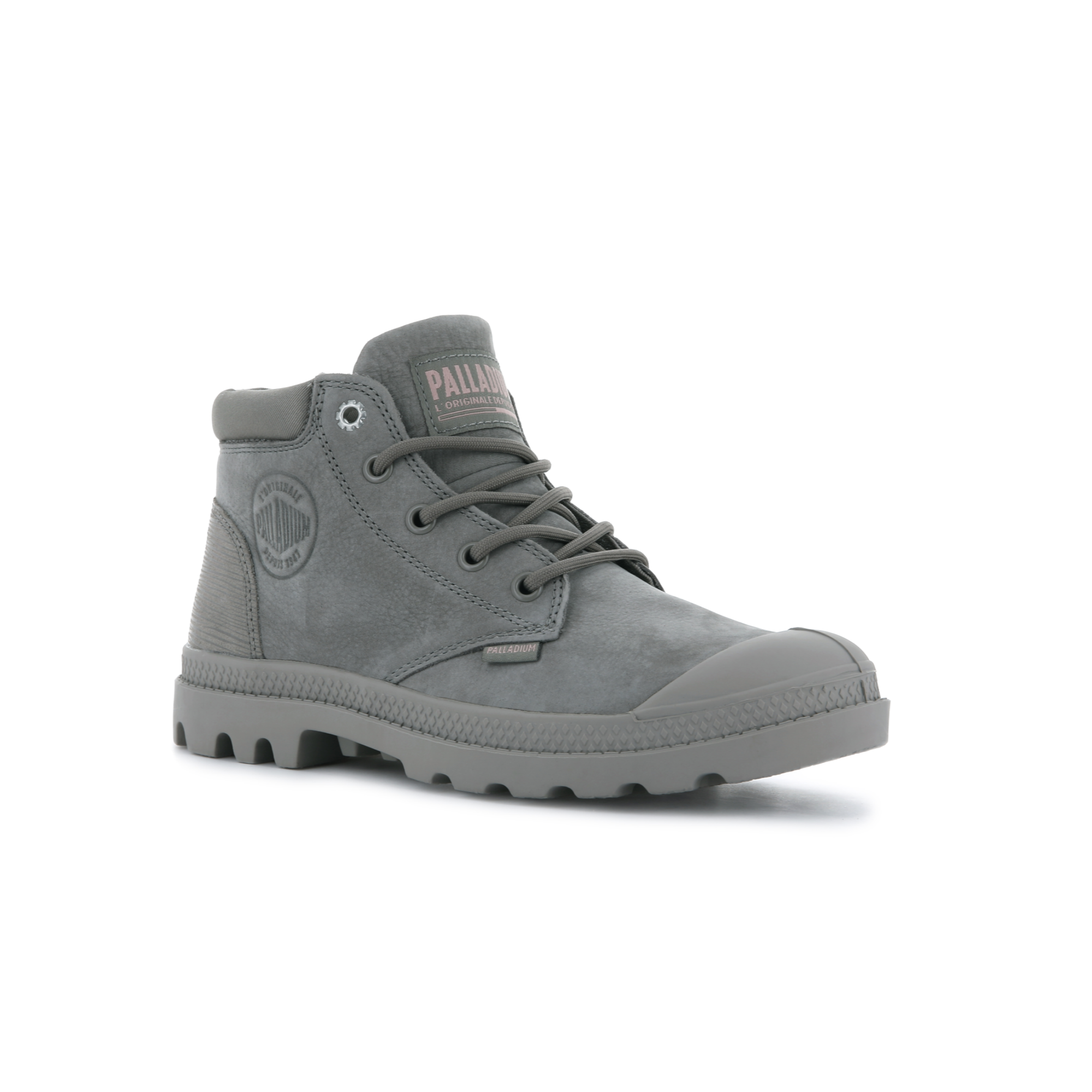 Mono grey leather ankle height combat boot