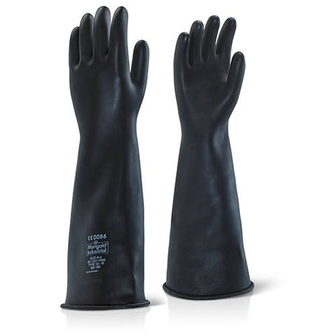 "Heavy Duty 17"" Black Chemical Resistant Gloves"
