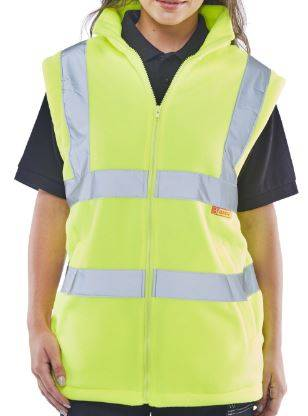 Hi Vis Fleece Gilet Bodywarmer With Retro Reflective Tape For Womens Yellow Gilet 3XL