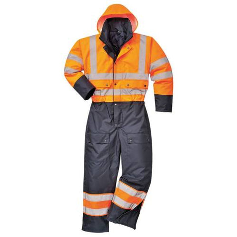 Hi-vis Contrast Coverall - Lined XXL Yellow/Orange