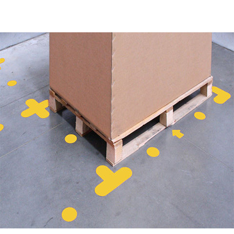 Floor Stickers Yellow PVC Self Adhesive Floor Stickers For Pallet Positions