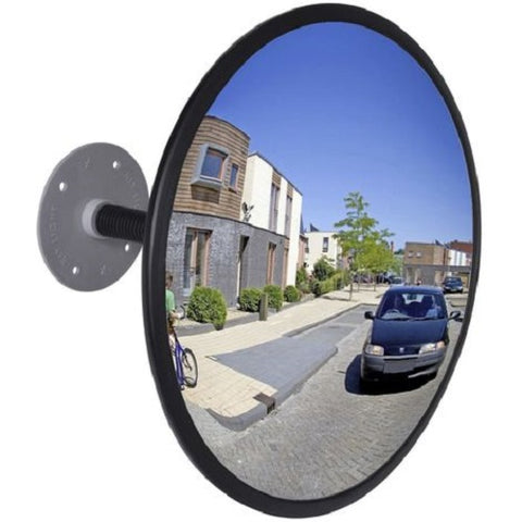 300mm Wall Mounted Convex Acrylic Traffic Mirror with Fixings