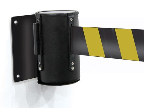 Wall Mounted Black & Yellow Belt Barrier