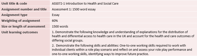 Introduction to Health and Social Care Essay Question