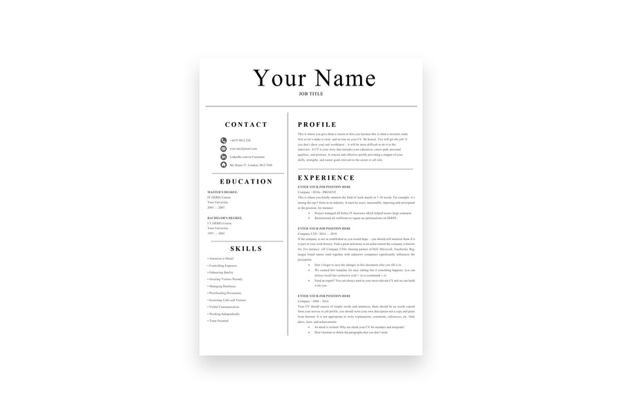 Simple Resume, 1 Page CV Template for Job Applications