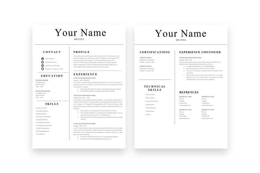 Simple Resume, 2 Page CV Template for Job Applications