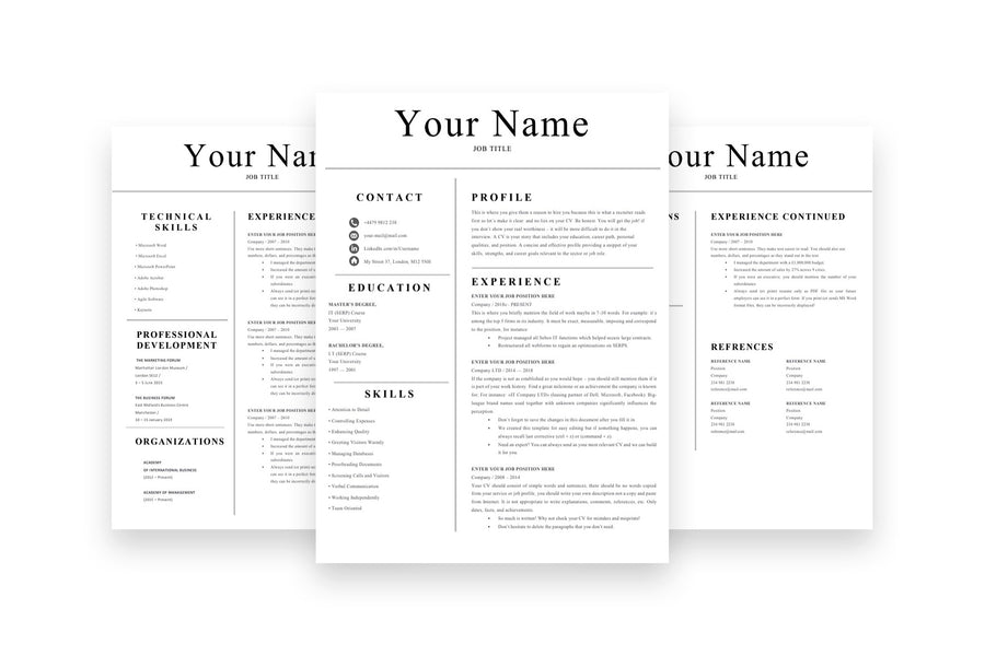Simple 3 Page CV Resume Template for Job Applications