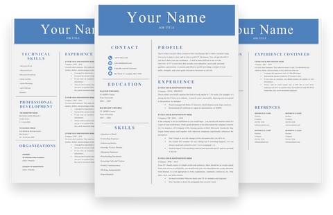 Simple Resume, 3 Page CV Template