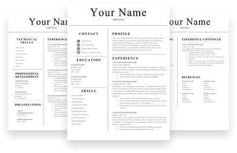 Simple 3 Page Resume, CV template