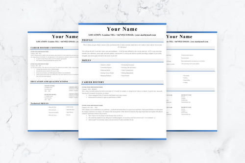 Clear Resume, 3 Page CV Template