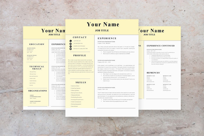 Customer Service Resume, 3 Page CV Template