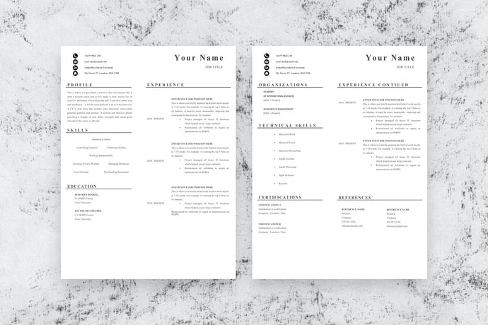 Front End Developer Resume, 2 Page CV Template