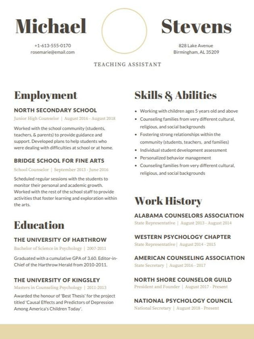 Teacher Assistant CV