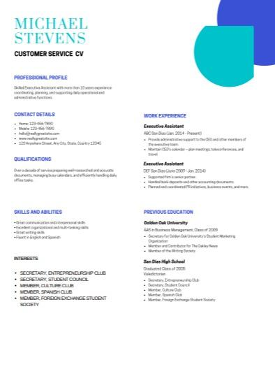 Customer Service CV, Crop Circle Template