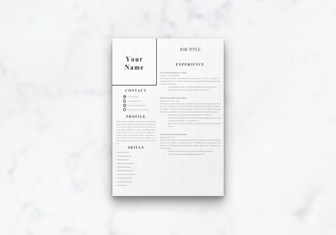 Easy 1 Page CV  Template