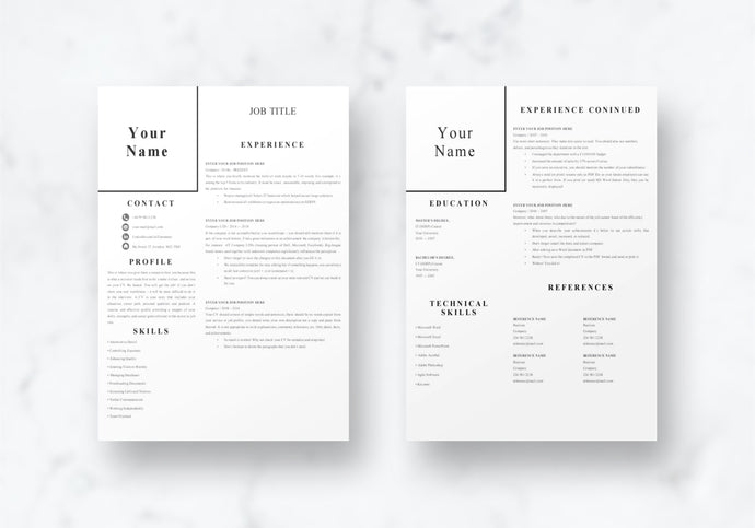 Easy 1-2 Page CV Resume Template
