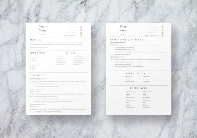 Basic 2 Page Resume Template