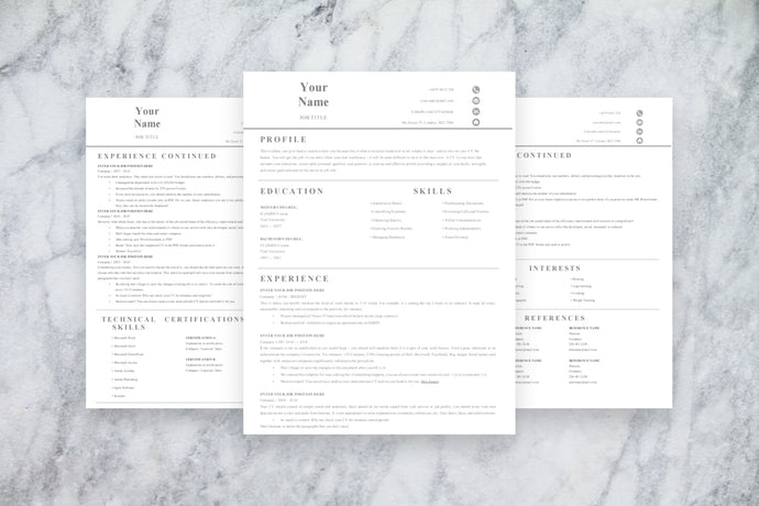 Basic 3 Page CV Resume Template