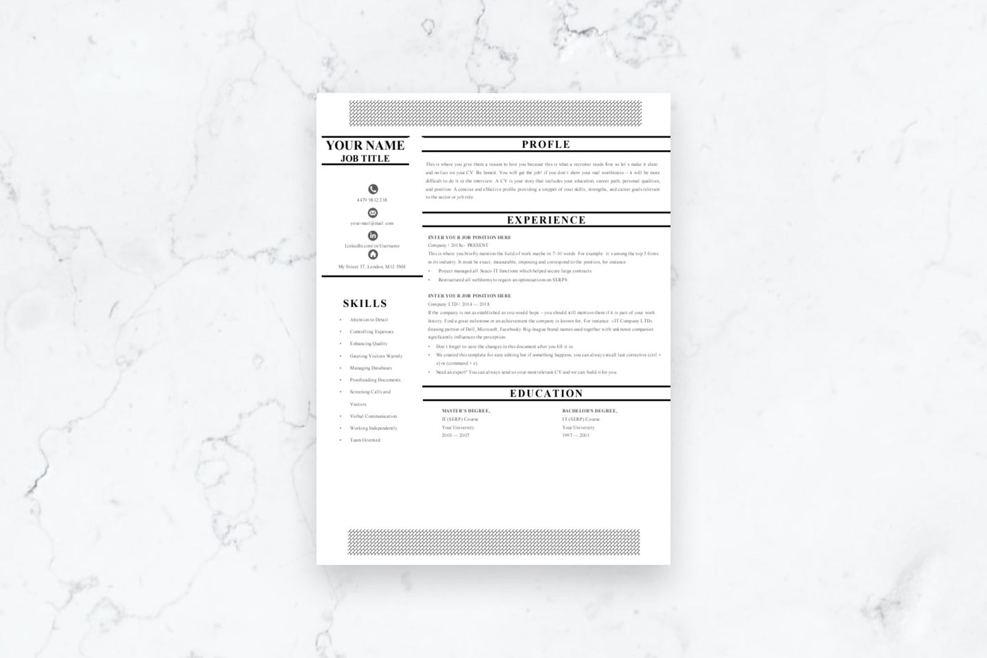 Career 1 Page CV Resume Template