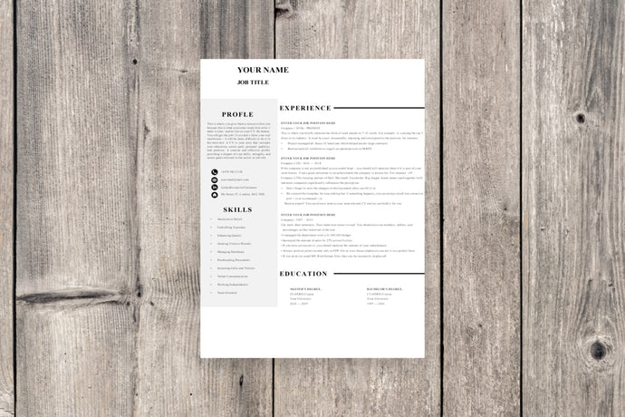 Clean 1 Page Resume Template
