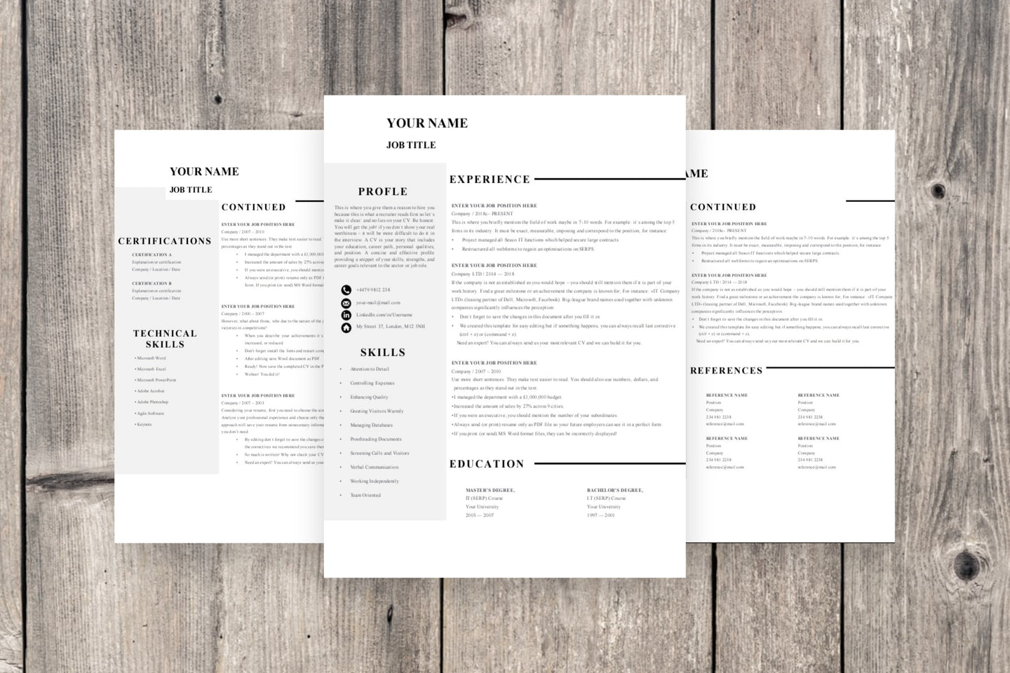 Clean 3 Page Resume Template