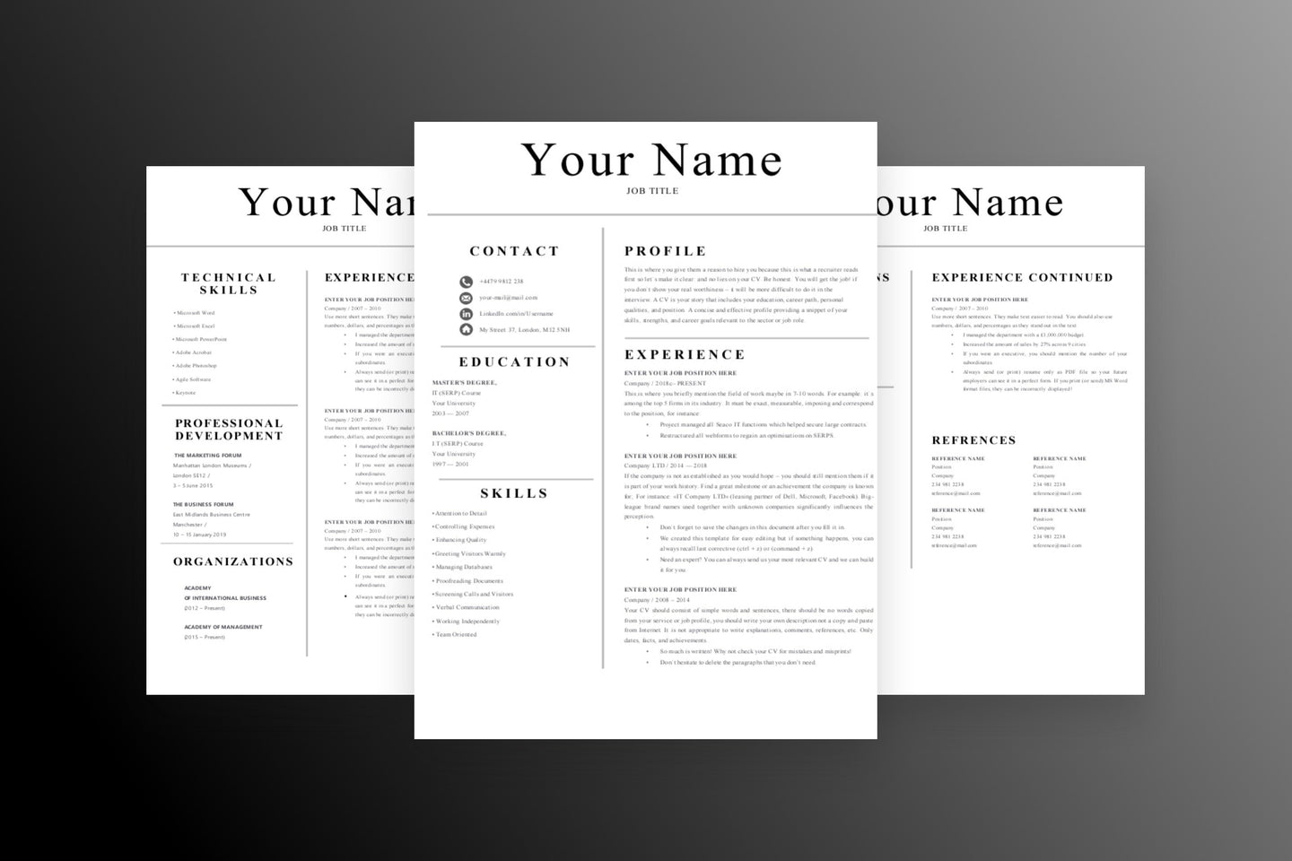 Professional 3 Page CV Resume Template