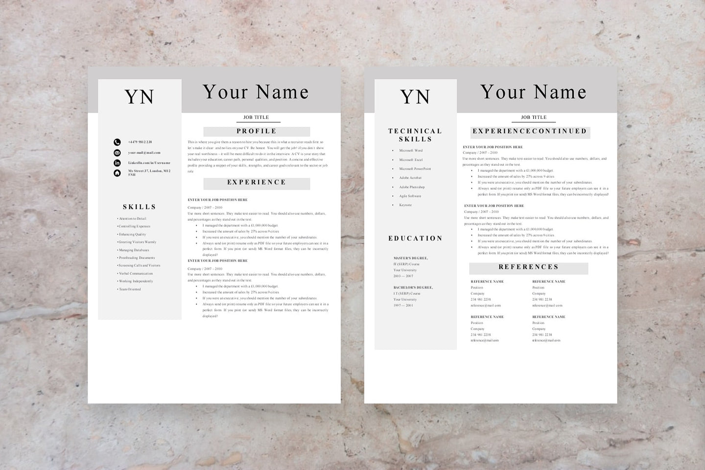 Executive Assistant Resume, 2 Page CV Templates