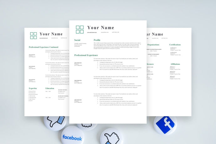 Marketing Resume, 3 Page CV Templates