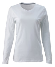 Load image into Gallery viewer, Women's Pima Cotton Tee Shirt Vee Neck LS
