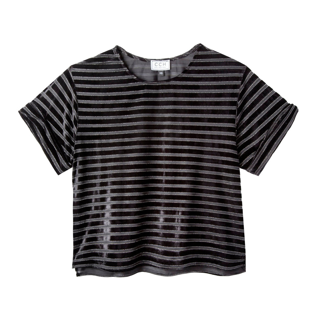 Chloe Crop Top in Velour Stripe