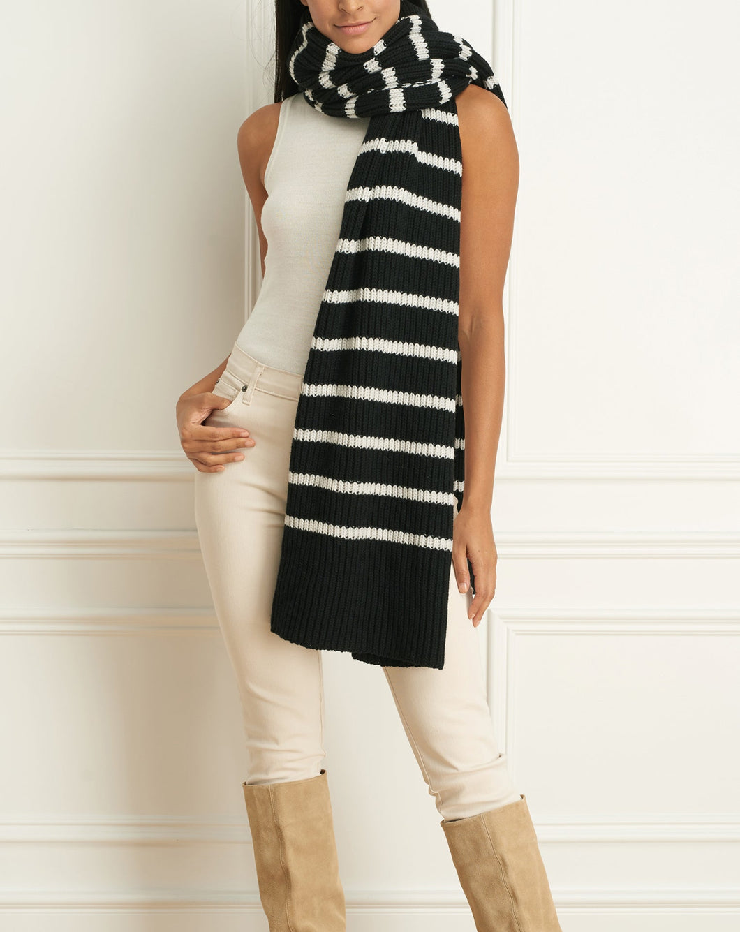 Alpaca Wool Blend Striped Scarf