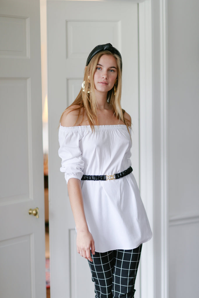 Ophelia Tunic in Preppy Stripe White/White - CCH Collection