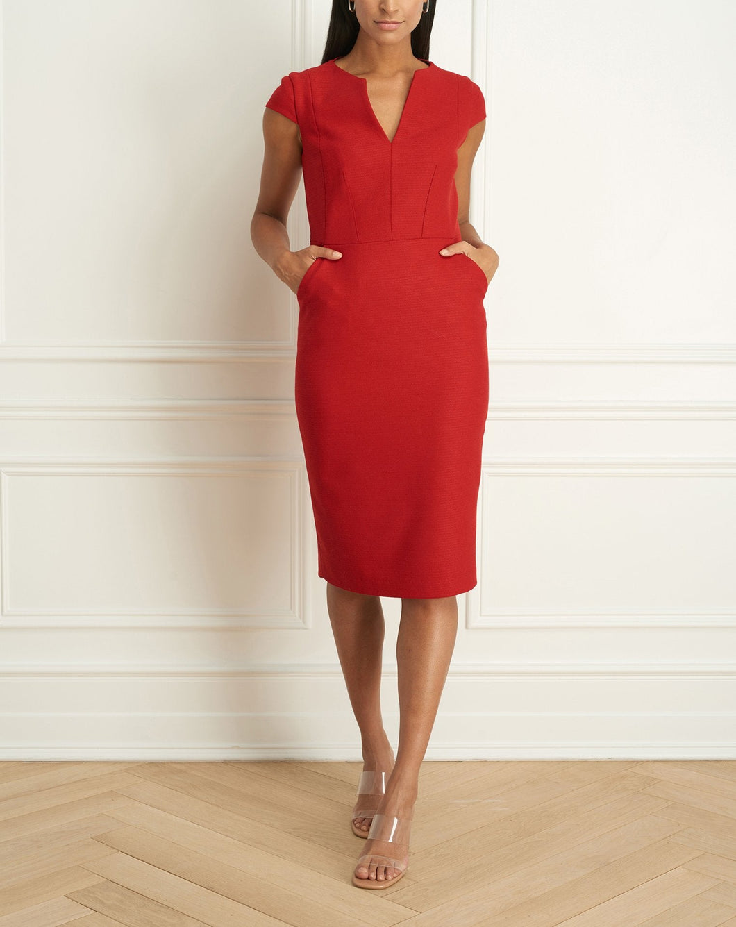 2 Tone Stretch Dress With Contrasting Detail