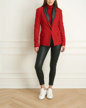 Load image into Gallery viewer, 2 Tone Stretch Jacket With Leather Collar