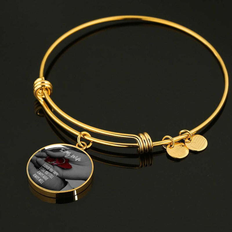 Gold Circle Pendant Bangle; To My Wife