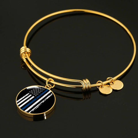 Thin Blue Line Bangle Bracelet
