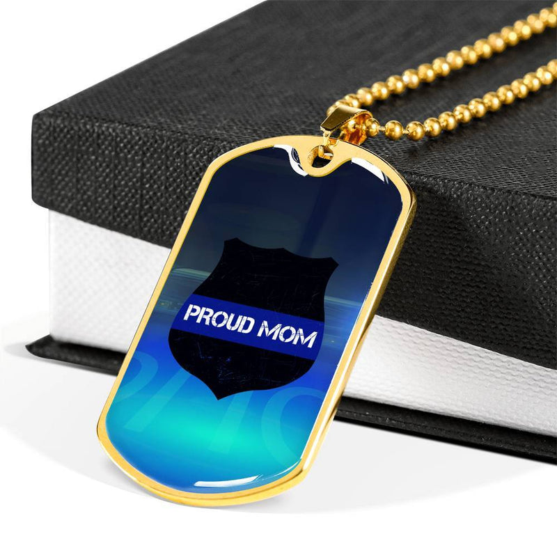 Proud Mom - Thin Blue Line Dog Tag