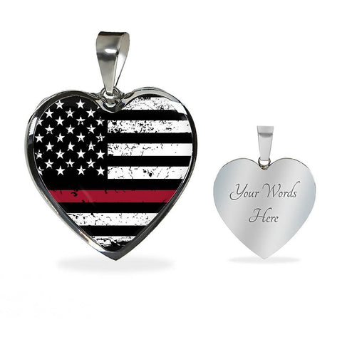 Firefighter Flag Heart Necklace with Snake Chain