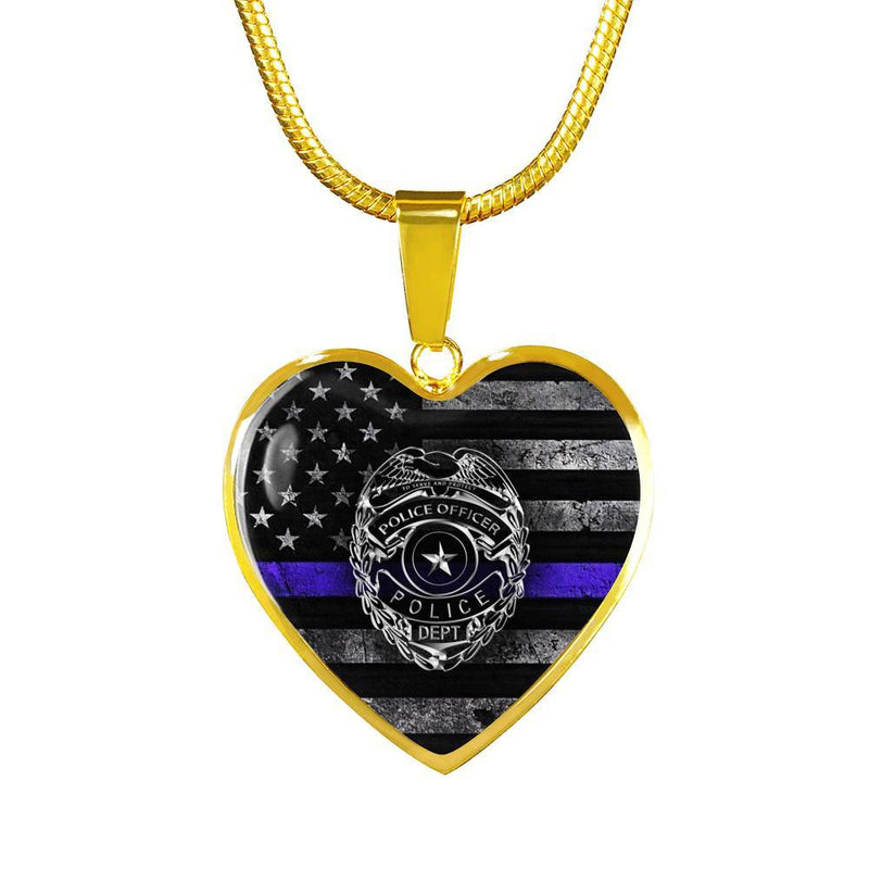 Police Blue Line Badge Flag Heart Necklace