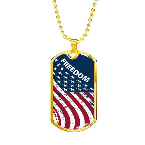Image of Freedom Flag - Gold Dog Tag