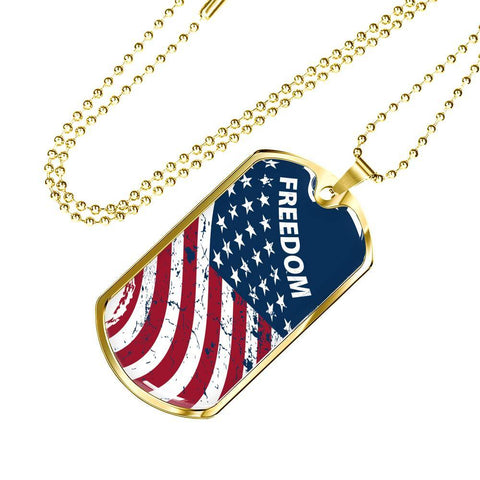 Freedom Flag - Gold Dog Tag