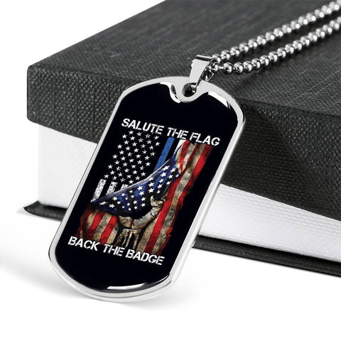 Image of Salute The Flag Back the Badge Dog Tag