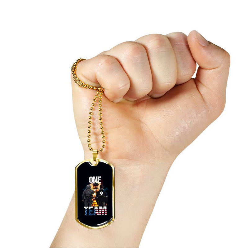 Salute The Flag Back the Badge Dog Tag