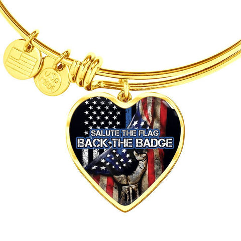 Salute The Flag Back the Badge Bangle Bracelet